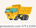 Funny cute hand drawn cartoon vehicles. Bright cartoon truck, Vector illustration 47513260