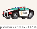 Funny cute hand drawn cartoon Police Car. Toy Cartoon Police Car. Toy Vehicles for Boys. Vector 47513736