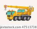Funny cute hand drawn cartoon vehicles. Toy Car. Bright cartoon yellow Crane. Machines for the 47513738