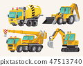 Set of Toy Construction Equipment in Yellow. Special Machines for the Building Work. Forklifts 47513740