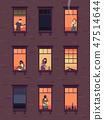 Windows with neighbors. Residential exterior window, neighborhood people talking building group fun 47514644