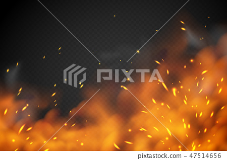 Smoke fire effect. Burning embers red hot metal ignite sparks fiery heat transparent smog texture 47514656
