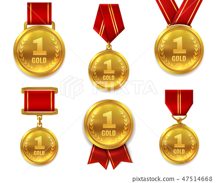 Champion gold medals. Award winner trophy golden medal sport reward competition first best hero red 47514668