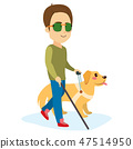 Blind Man With Dog 47514950