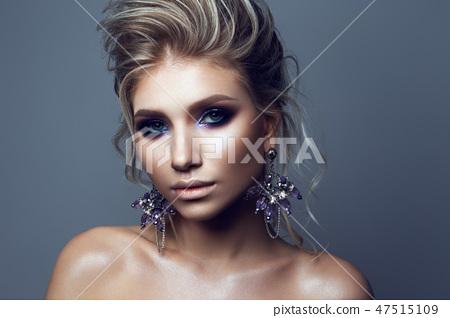 Portrait of beautiful girl with dark lips. 47515109