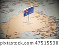 Australia marked with a flag on the map 47515538