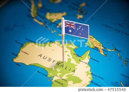 Australia marked with a flag on the map 47515540