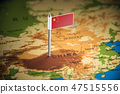 China marked with a flag on the map 47515556