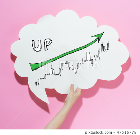 Market up trend chart with a speech bubble 47516778