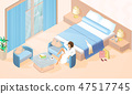 Woman Resting in Hotel Room Isometric Vector 47517745