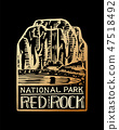 Camping logo and label. Mountains and pine trees. Trip in the forest, outdoor and adventure. Colored 47518492