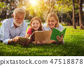 Happy family read books together in park garden. 47518878