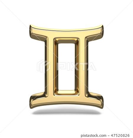 Golden zodiac sign GEMINI 3D - Stock Illustration [47520826