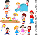Cartoon kids playing  47520980