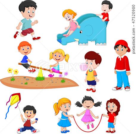 Cartoon kids playing  47520980