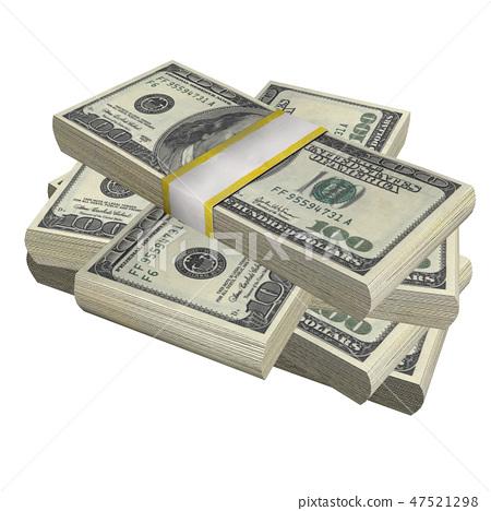 stack of 100 Dollars banknote bill USA money  47521298
