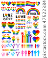 Love is love, rainbow flag, lgbt pride, vector set 47522384