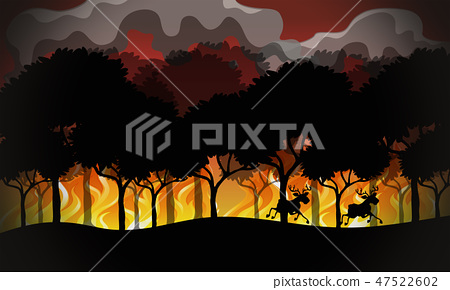 Silhouette wildfire disaster landscape 47522602