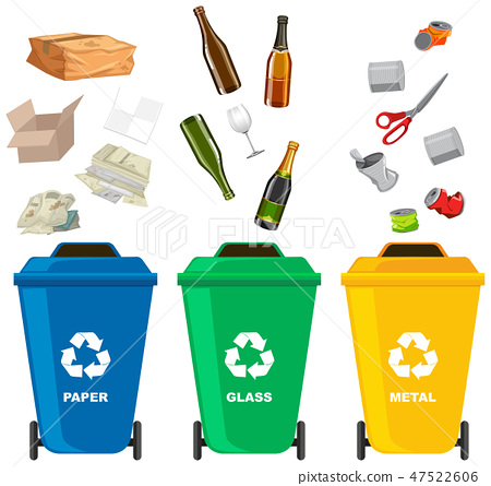 Set of different trash bin 47522606