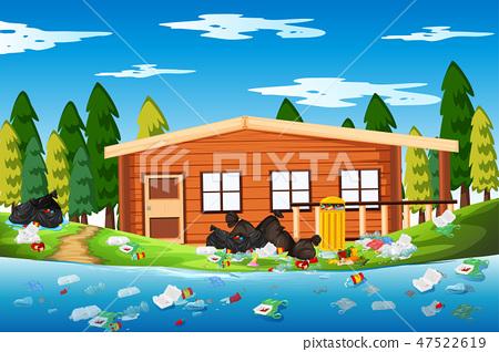 Litter in the log house 47522619