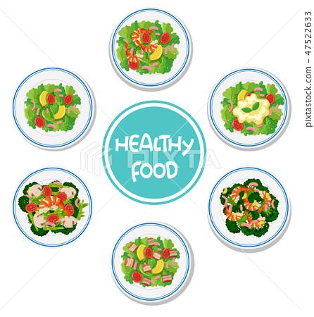 Set of healthy salad 47522633