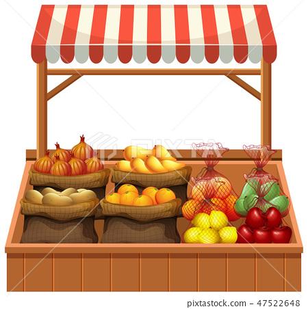 Isolated fresh vegetable stall 47522648