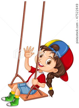 Happy girl palying on swing 47522649