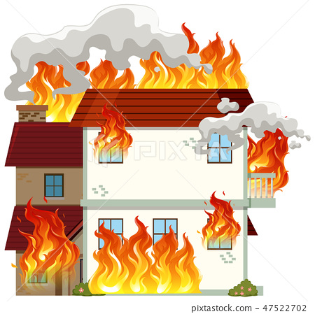 Isolated modern house on fire 47522702