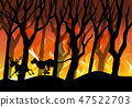 silhouette, forest, fire 47522703