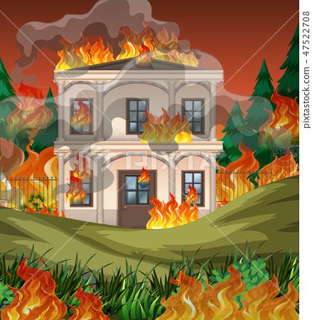 Fire destroy mansion background 47522708