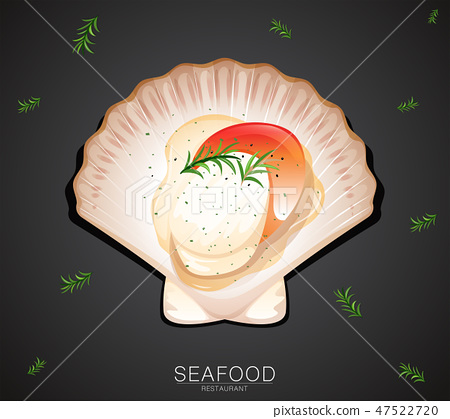 A scallop on restaurant banner 47522720