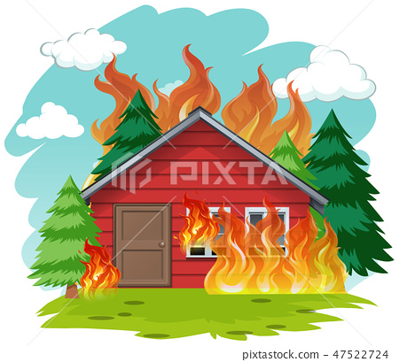 Isolated cabin house on fire 47522724