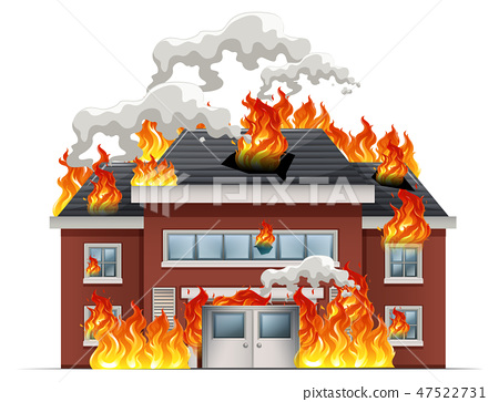 Isolated house on fire 47522731