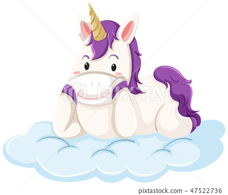 A unicorn lay down on cloud 47522736