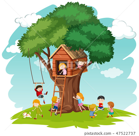 Children at tree house 47522737