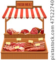 Isolated fresh meat stall 47522740