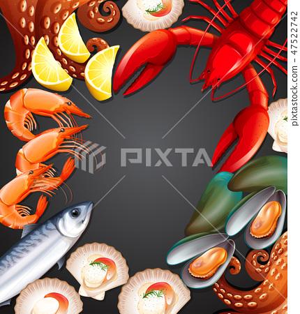 Fresh seafood set banner 47522742