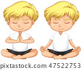 Young blond boy meditating 47522753