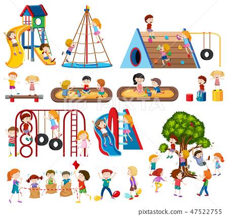 Set of children at playground 47522755