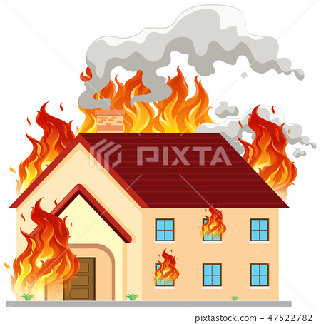 Isolated modern house on fire 47522782