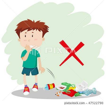 A boy throwing garbage on street 47522790