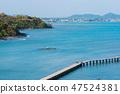 sea with wooden bridge at Rayong,Thailand 47524381