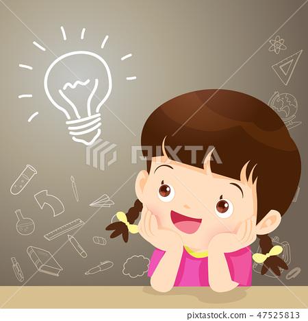 children girl thinking idea 47525813