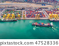Container port and container ship transportation 47528336