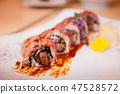 Japanese Wagyu beef sushi maki rolls with sauce 47528572