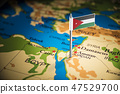 Jordan marked with a flag on the map 47529700