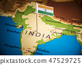 India marked with a flag on the map 47529725