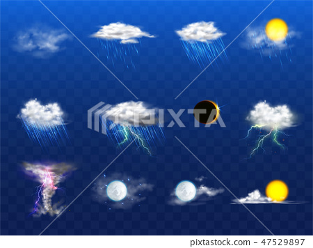 Vector 3d realistic weather forecast, metcast elements 47529897