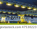 Mobile grow lighting system in sports stadium at night. 47530223