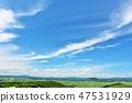 Landscape of blue sky plateau in summer of Hokkaido 47531929